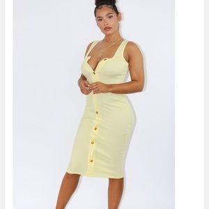 Pretty Little Thing Yellow Button Down Midi Dress